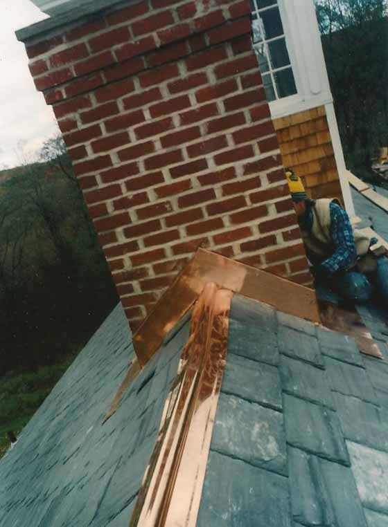 Cedar Shingle Chimney : New slate roof cedar shingle sidewalls brick chimneys